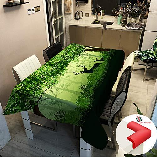 Fansu Tischdecke Wasserabweisend Tischwäsche Polyester Eckig Lotuseffekt Wasserdicht Segeltuch Tischtuch Fleckschutz Pflegeleicht Schmutzabweisend (140x180cm,Wald)