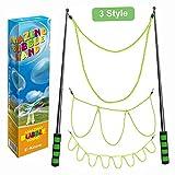 E-Know Riesenseifenblasen-3 Stile Seifenblasen-Stab für Seifenblasen Partei-Edelstahl machte das teleskopische Entwurfs-einfache Tragen für Garten Spielzeug Outdoor Spielzeug(MEHRWEG)