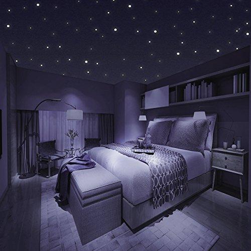 Homery Sternenhimmel 300 Leuchtpunkte selbstklebend mit starker Leuchtkraft, fluoreszierende Leuchtsterne Wandtattoo & Wanddeko Aufkleber für Baby, Kinder oder Schlafzimmer