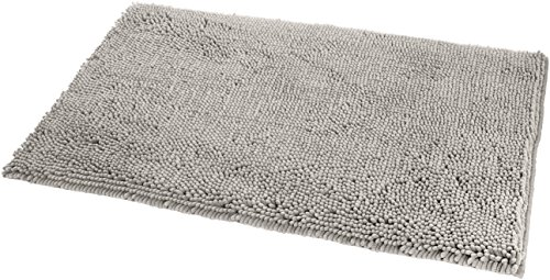 AmazonBasics - Badteppich, Hochflor, rutschfest, Mikrofaser, 53 x 86 cm, Platinfarben