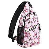 MOSISO Brusttasche Sling Rucksack Schultertasche, Polyester Crossbody Umhängetasche für Männer Frauen Mädchen Jungen, Rosa Basis Floral