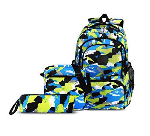 CUIBIRD Schulrucksack Jungen Schultasche Jugendliche Nylon Rucksäcke Schule Wasserfest Backpack Laptop Rucksack 15.6 Zoll Schulranzen 3 Teile Set (Blau)