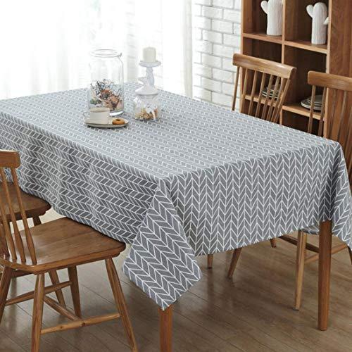 YISHU Abwaschbar Tischdecke Eckig Lotuseffekt Wasserdicht Segeltuch Tischtuch Fleckschutz Pflegeleicht Schmutzabweisend Tischwäsche grau 100 * 140cm