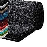 Badematte Hochflor Sky Soft | Weicher, flauschiger Badezimmerteppich in Shaggy-Optik | Badvorleger rutschfest waschbar | Öko-Tex 100 zertifiziert | 16 Farben in 6 Größen (50x80 cm, dunkelgrau)