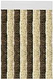 Flauschvorhang individuell kürzbar Auswahl: Unistreifen beige - braun 90 x 200 cm