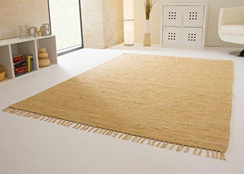 Handwebteppich Indira in Natur - Handweb Teppich aus 100% Baumwolle Fleckerl, Größe: 160x230 cm