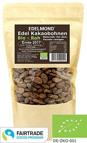 Edelmond rohe Bio Kakaobohnen. Frischware. Echtes Fair Trade von der kleinen Kakaofinca. Top Edel-Schokoladen Bohne ohne Insektizide. 250g