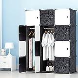 PREMAG Kleiderschrank Garderobe für hängende Kleidung, Kombischrank, modularer Schrank für platzsparende, Ideale Aufbewahrung Organizer Cube für Bücher, Spielzeug, Handtücher(12-Würfel)