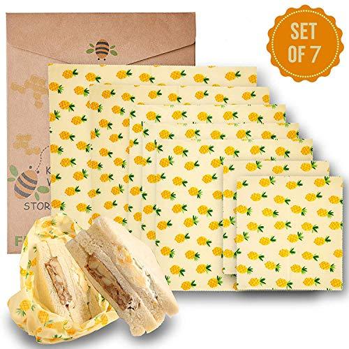 Y&J Beeswax Warp Wachspapier, 7er Set Wachspapier Bienenwachstücher aus natürlichem Bienenwachs und Öko-Tex Baumwolle ...
