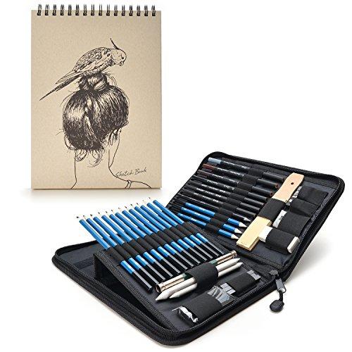 AGPTEK 41tlg Zeichenset - Bleistifte Skizzierstifte Set mit einem 60 Blatt Zeichenblock, 5H-8B Künstlerset im Reißverschluss Etui, Kunst Zeichnung Zubehör Set für Künstler, Anfänger, Schüler.