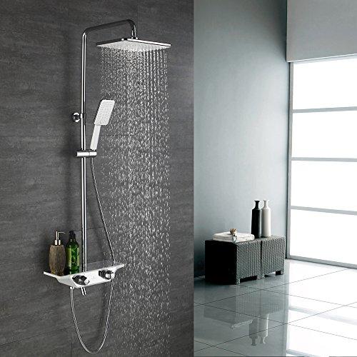 Homelody 3-Funktion Regal Duschsystem mit Thermostat Duschset mit Rainshower Duscharmatur Handbrause Duschkopf Regendusche Dusche Armatur Bedewanne Badezimmer