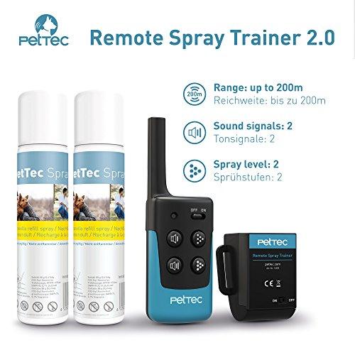 PetTec Remote Spray Trainer 2.0, Erziehungshalsband mit Fernbedienung, 200m Reichweite, Ferntrainer mit Spray (Neutral Oder citronella) und Tonsignal, Umweltfreundlich und Sanft