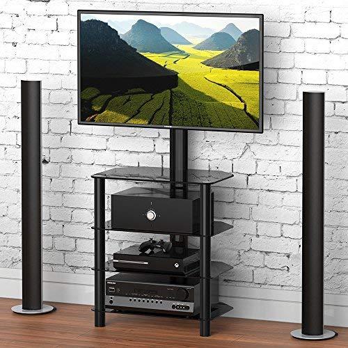 FITUEYES TV Rack HiFi Regal Audio Schrank mit TV Halterung für 32 '-50' schwarz TW406001MB