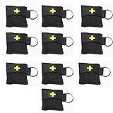 Worldconnection CPR Maske schwarz Beatmungsmaske Beatmungstuch Schlüsselanhänger Beatmungsfolie (10 Stück)