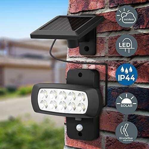 B.K.Licht   LED Außenstrahler mit Solar-Panel und Bewegungs- Dämmerungssensor   6.500K   IP44   für Garten, Hof und Garage
