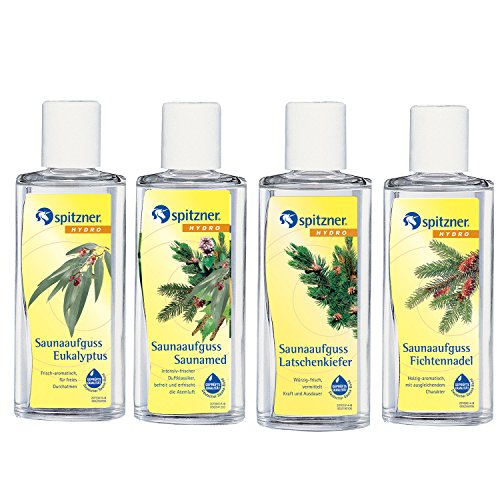 Spitzner Saunaaufguss Freier Atem: Eukalyptus, Fichtennadel, Latschenkiefer und Saunamed (4x190ml)