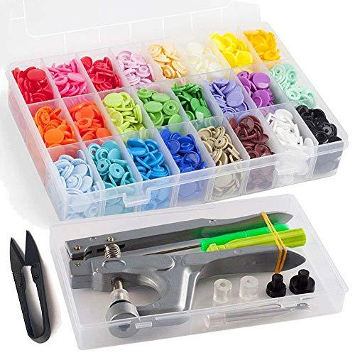 RERI KAM Druckknöpfe mit Snaps Zange, 360 Set T5 Druckknopf in 24 Farben für DIY Basteln (Druckknöpfe mit Snaps Zange)