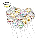BUWANT 20 Stück 12 Zoll Konfetti Luftballons mit 30 g Bunte Golden Folie Konfetti für Geburtstagsfeier Hochzeit Party Deko