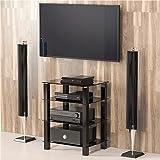 Fitueyes TV Rack Hifi Regal Audio Schrank mit schwarz Glas und Alu AS406002GB