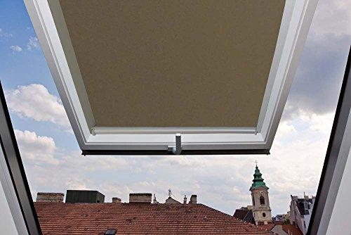 Für Velux Fenster GGU / GPU / GHU / GTU / GGL / GPL / GHL / GTL / GEL 306 Dachfensterrollo Thermo Rückseite, Verdunkelungsrollos in Hellbraun - 78x118cm (Breite x Länge) - mit seitlichen Führungsschienen aus Aluminium