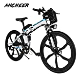 Ancheer Elektrofahrrad 26 Zoll E- Bike Mountainbike, 25-50km/h Meilen Kilometerstand, 36V 8AH Abnehmbarer Akku and 21 Gang Getriebe (26 Zoll) (26 Weiss)