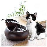 PETLYY Keramik Katzen- und Hundetrinkbrunnen Haustier Trinkbrunnen für Katzen und Hunde Automatisch Leise Haustier Wasserbrunnen (20.6 * 13.8cm, Schwarz)