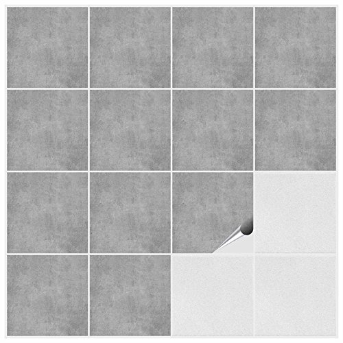 Fliesenaufkleber für Bad und Küche - 15x15 cm - Dekor Greydi - 50 Fliesensticker für Wandfliesen