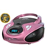 Lauson CD-Player | Tragbares Stereo Radio | USB | CD-MP3 Player für kinder | Stereo Radio | Stereoanlage | Kopfhöreranschluss | AUX IN | LCD-Display | Batterie sowie Strombetrieb | CP638 (Pink)