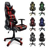 Diablo X-One Bürostuhl, Gaming Chair, Drehstuhl mit Armlehnen, Chefsessel, Gaming Stuhl, Schalensitz, Sportsitz mit Bezug aus Kunstleder (rot/schwarz)