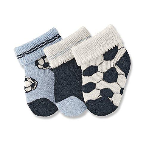 Sterntaler Erstlingssöckchen 3-er Pack, Alter: ab 0 Monate, Größe: Neugeborene (Herstellergröße 0), Fußball, Himmel-Blau