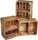 Kistenbaron Holzkiste im Vintage Look - Obstkiste Weinkiste Dekoration - Geflammt - 50 x 40 x 30 3er Set Ablage kurz/hochkant