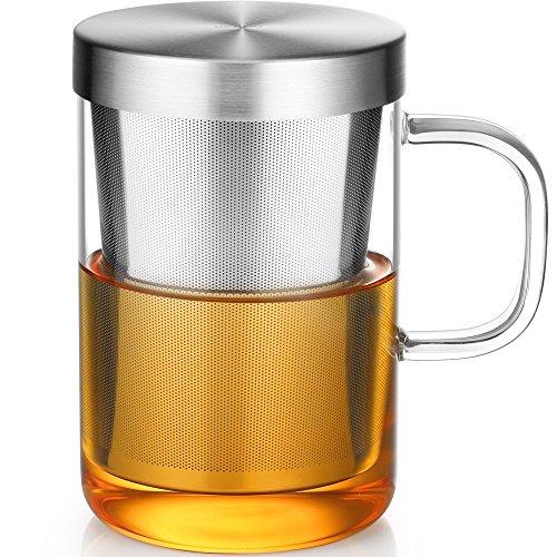 Ecooe Glas Tasse mit Metallsieb Teeglas Teebecher aus Borosilikat Teetasse 500ml (Volle Kapazität)