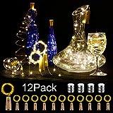 12 Stück LED Flaschenlicht, BIG HOUSE 20 LEDs 2M Lichterkette Kupferdraht batteriebetriebene Weinflasche Lichter mit Kork Schnurlicht für DIY Deko Weihnachten Party Urlaub Stimmungslichter (Warmweiß)