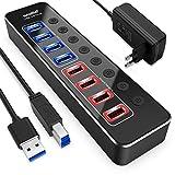 atolla USB Hub Aktiv 3.0 mit Netzteil, Aluminum 8-Port USB 3.0 Hub (4 USB 3.0 Datenports und 4 Intelligenter Charging Ports) mit Einzelnen Schalter und 12V/2.5A Netzteil Adapter