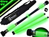 MOONSHINE Profi Devilstick Set (GLOW In The DARK) Holz Devil stick Pro inkl. Holz Handstäbe mit 2 mm Super-Grip Silikon +Reisetasche! Devilsticks für Anfänger und Profis.