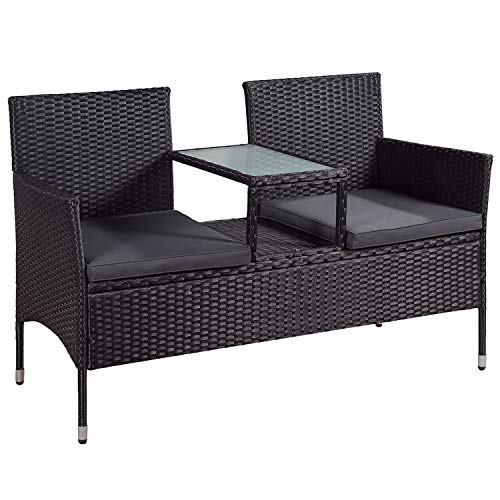 ArtLife Polyrattan Gartenbank Sitzgruppe Monaco in schwarz und dunkelgraue Bezüge mit integriertem Tisch für 2 Personen