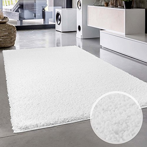 Shaggy-Teppich, Flauschiger Hochflor Wohn-Teppich, Einfarbig/ Uni in Weiß für Wohnzimmer, Schlafzimmmer, Kinderzimmer, Esszimmer, Größe: 200 x 290 cm