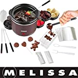 Melissa 16310178 Schokoladen-Fondue-Set, Schokoschmelzer, viel Zubehör, 4 Personen,Keramiktopf,70 Watt,Pralinen,Geschenk, braun