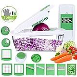 Meilian Gemüsehobel, 10 in 1 Gemüseschneider Einstellbar mit Messereinsätzen zum Reiben/Spiralen/Hobeln/Würfeln/Stifteln/Raspeln/Scheibenschneiden Eiertrenner Bürste Handschuhe