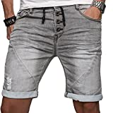 Sublevel Herren Jogg Jeans Shorts kurze Hose Bermuda Sommer Short Sweathose Slim B112 [Grau - W31]