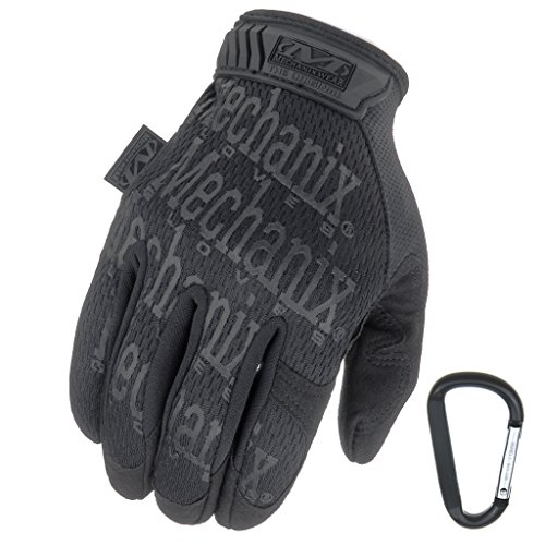 MECHANIX WEAR ORIGINAL Einsatz-Handschuhe, atmungsaktiv & abriebfest + Gear-Karabiner, Original Glove in Schwarz, Coyote, Multicam / Größe S, M, L, XL (S, Schwarz / Covert)