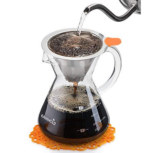 EASEHOLD Kaffeebereiter Pour Over, Kaffeezubereiter, Kaffeekanne mit Dauerfilter aus Edelstahl und Karaffe, Dripper zum Aufbrühen des Kaffees (500ml)