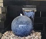 Kugelbrunnen 40 cm Marmor blau Edelstahl Komplettset Kugel Wasserspiel