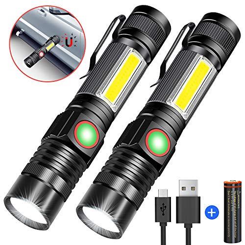 Taschenlampe LED Magnet USB Aufladbar Zoombar (Mit 18650 Akku) Karrong COB Arbeitsleuchte Super Hell, Outdoor Wasserdicht Taktische Taschenlampen, 4 Modi für Kinder Outdoor Camping Notfall