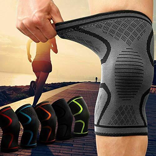 Kniebandage gegen Knieschmerzen 2er Set für Männer & Frauen - Bequeme Sport Knieorthese mit Antirutsch Saum - Knee Support gegen Arthrose, Meniskus, Knieschmerzen (L)