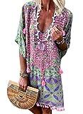 Happy Sailed Damen Kurzarm V-Ausschnitt Retro Bikini Cover Up Strandkleid Bikinikleid Beachwear S-L