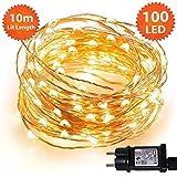 Weihnachtslichterkette 100 LED-eihnachtslichter für den Innenbereich, warmweiße Micro-Lichterketten - Sichere Niederspannungsversorgung - 10m / 33ft Beleuchtete Länge - Kupferkabel