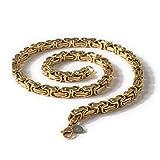 Fly Style - Königskette Armband 6mm Edelstahl Gold - Vierkant Panzerkette Halskette Königsarmband Herren, Farbwahl:gold;Längen:70 cm