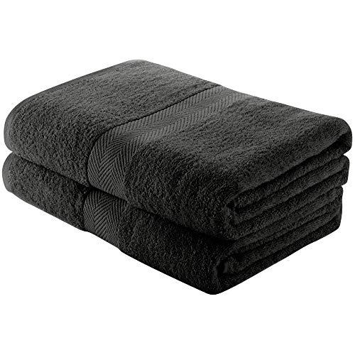 Charles Wilson Handtuch-Set 100% Baumwolle 500g/m² (2 Badetücher, Schwarz)