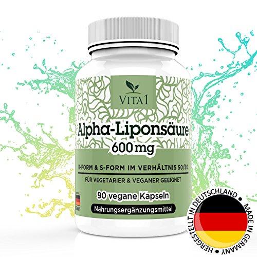 VITA1 Alpha-Liponsäure ALA 300mg • 90 Kapseln (6 Wochen Vorrat) • 50% R- und 50% S-Alpha-Liponsäure • Hergestellt in Deutschland